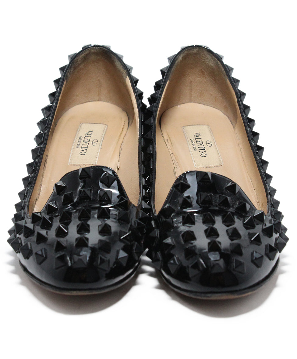 Valentino Black Patent Leather Stud heels 4