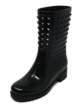 Valentino Black Rubber Rain Boots with Stud Detail 1
