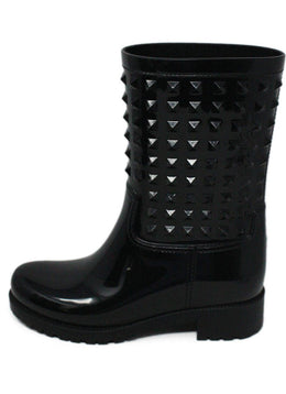 Valentino Black Rubber Rain Boots with Stud Detail 2