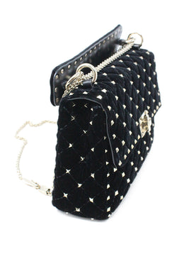 Valentiono Black Velvet Handbag with Gold Stud Detail and Crossbody Strap 2