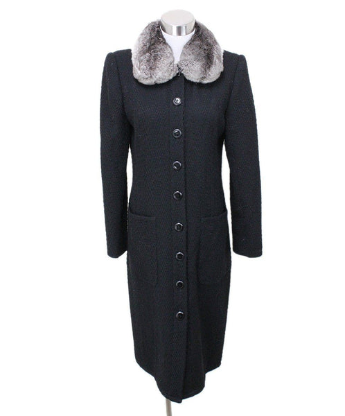 Valentino Black Wool Coat with Chinchilla Fur Collar