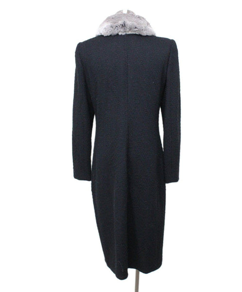 Valentino Black Wool Coat with Chinchilla Fur Collar 2