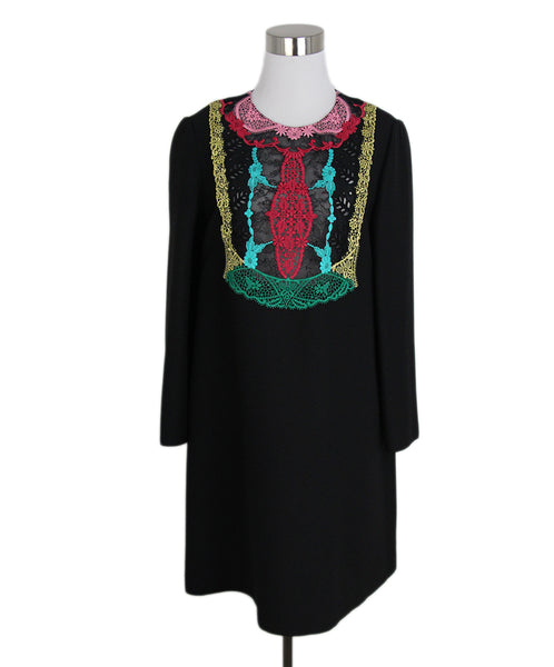 Valentino Black fuschia aqua embroidery dress 1
