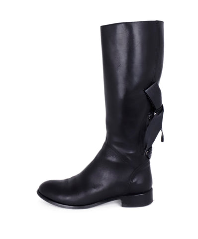 Valentino Black Leather Bow Detail Knee High Boots 1