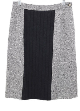 Valentino Black White Tweed Wool Skirt 1