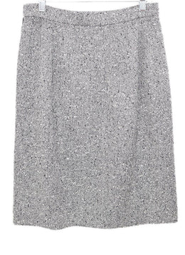 Valentino Black White Tweed Wool Skirt 2