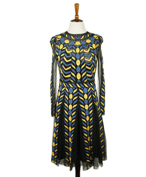 Valentino Blue Yellow Polyamide Cotton Dress 1