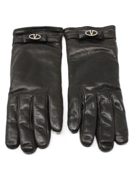 Valentino Brown Leather Gloves