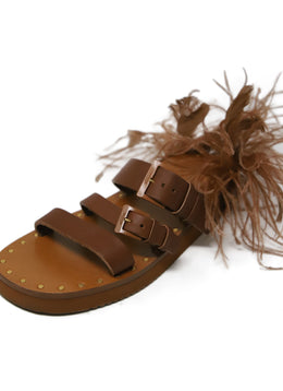 Valentino Brown Leather Feathers Sandals 1