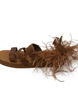 Valentino Brown Leather Feathers Sandals 2