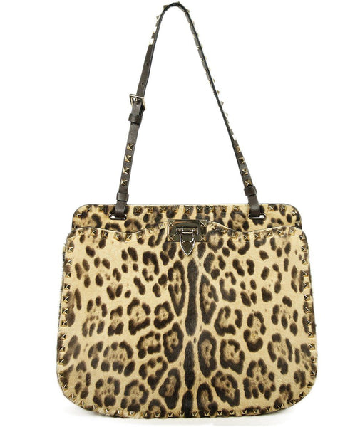 Valentino Brown Tan Leopard Print Fur Bag 1