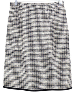 Valentino Brown Tan Tweed Wool Velvet Skirt 1