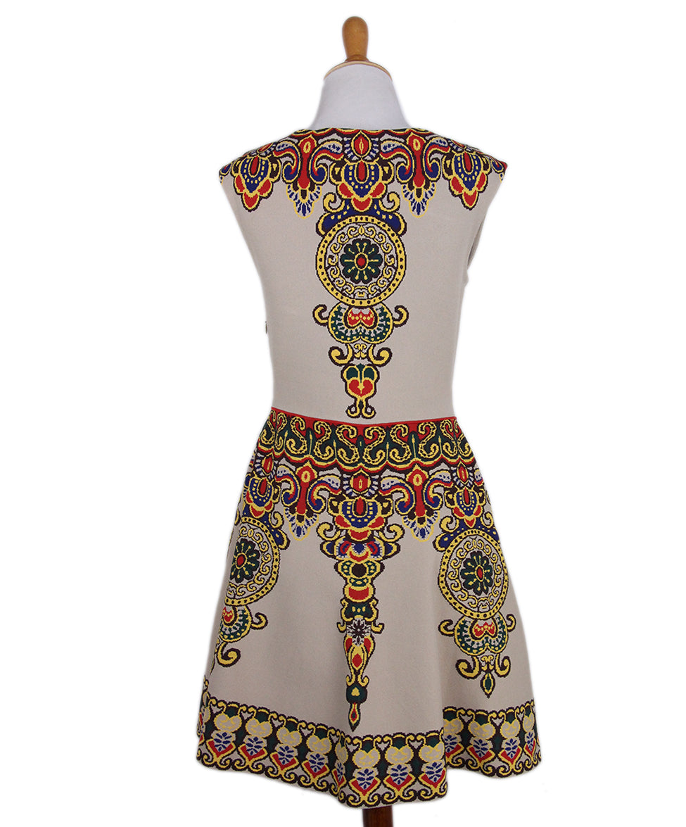 Valentino Camel Red Yellow Print Dress 3