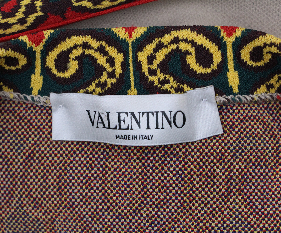 Valentino Camel Red Yellow Print Dress 4