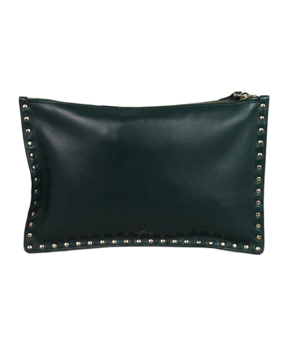 Valentino Green Leather Clutch 1