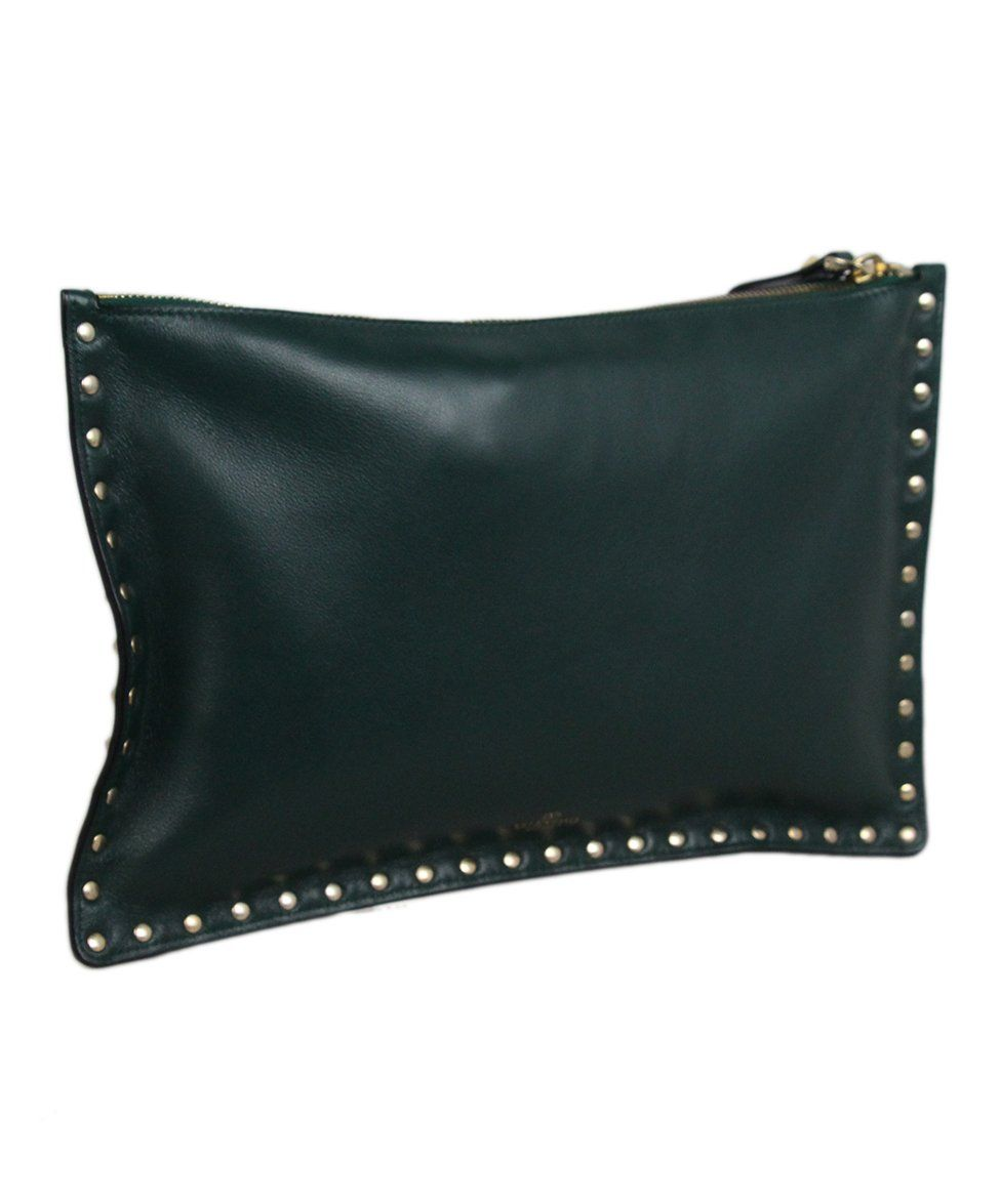 Valentino Green Leather Clutch 2