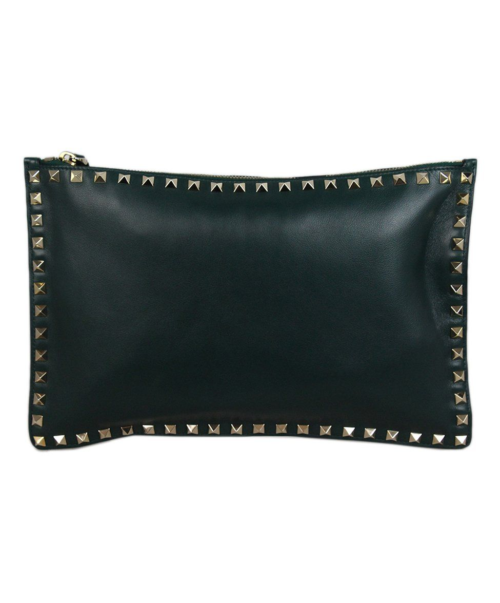 Valentino Green Leather Clutch 3