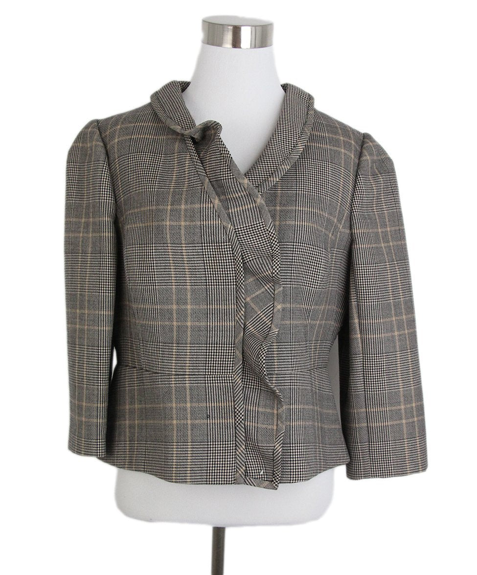 Valentino Grey Black Beige Plaid Jacket 1