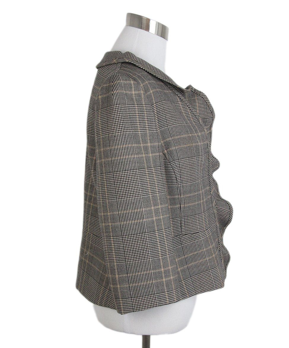 Valentino Grey Black Beige Plaid Jacket 2