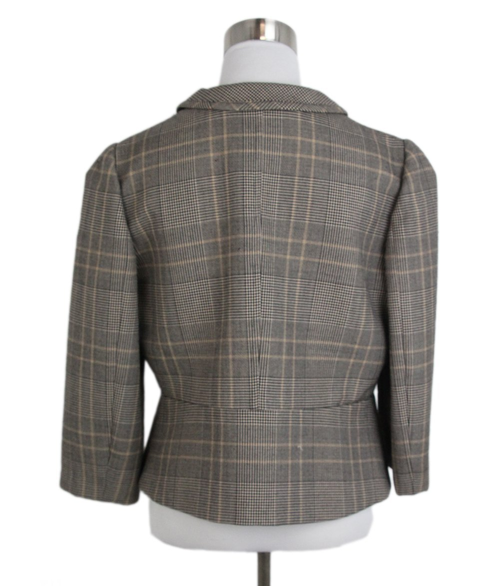 Valentino Grey Black Beige Plaid Jacket 3