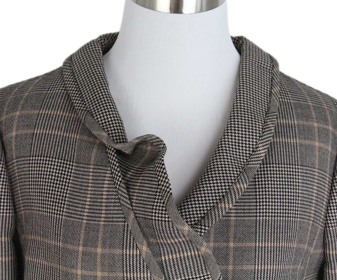 Valentino Grey Black Beige Plaid Jacket 6