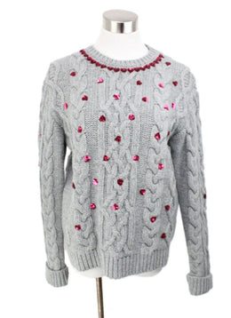 Valentino Grey Cableknit Pink Sequins Detail Sweater 1
