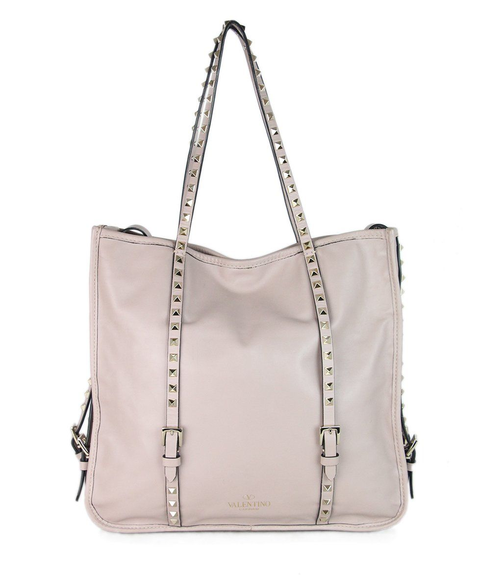 Valentino Mauve Leather Studded Tote 1