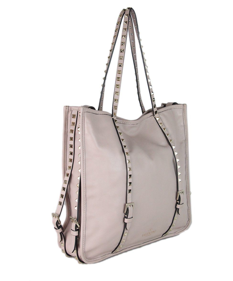 Valentino Mauve Leather Studded Tote 2