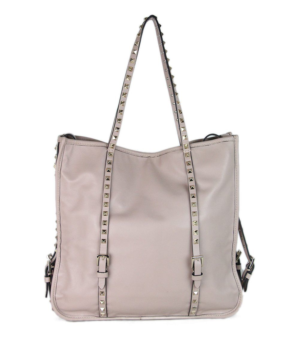 Valentino Mauve Leather Studded Tote 3