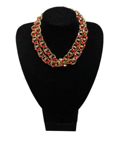 Valentino Metallic Gold Red Enamel Rhinestones Necklace 1
