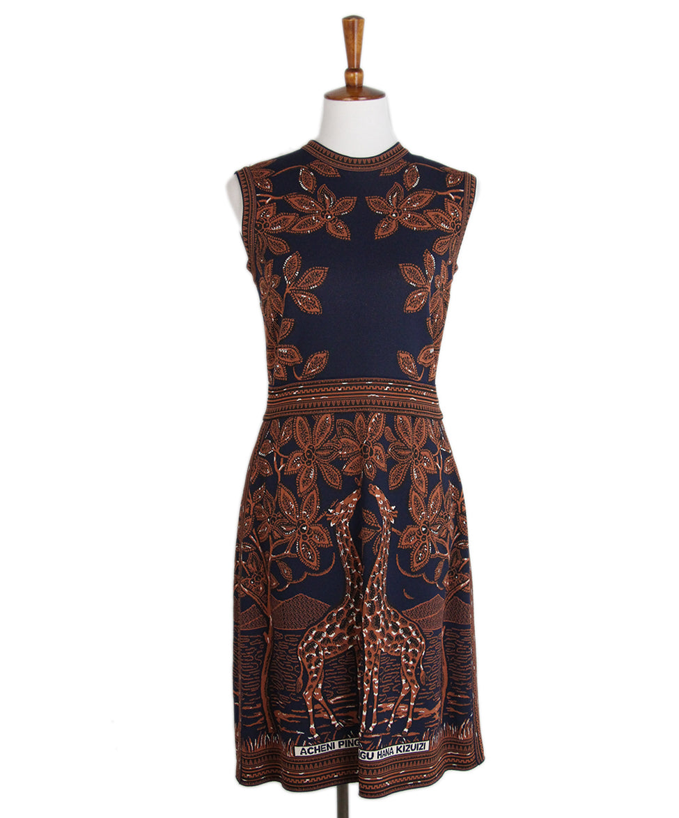 Valentino Navy Brown Knit Dress 1
