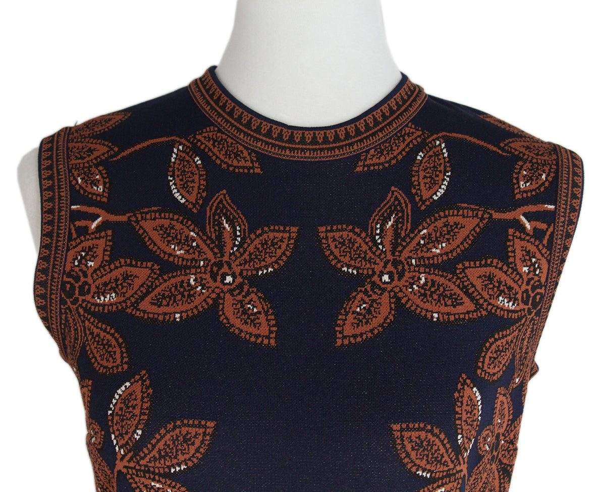 Valentino Navy Brown Knit Dress 4