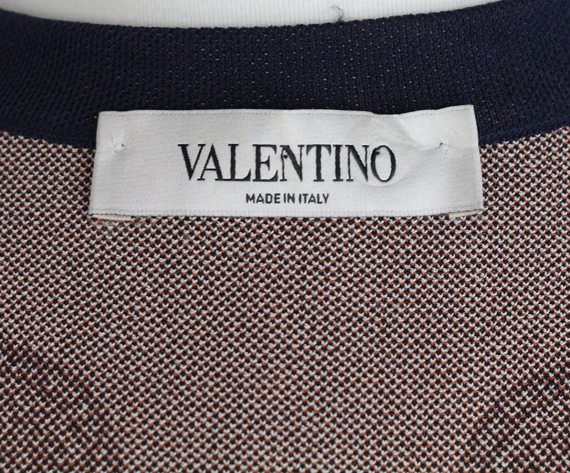 Valentino Navy Brown Knit Dress 6