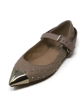 Valentino Nude Quilted Leather Flats with Ankle Strap and Gold studs 1
