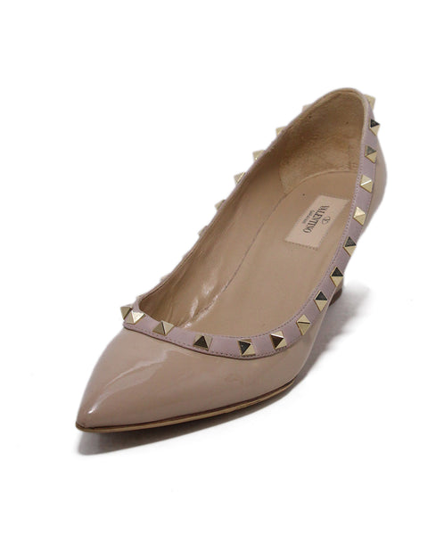 Valentino Neutral Tan Patent Leather Studs Wedges 1