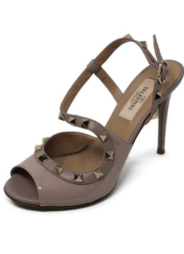 Valentino Neutral Patent Leather Heels with Stud Detail 1