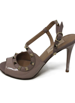 Valentino Neutral Patent Leather Heels with Stud Detail 2