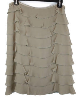 Valentino Neutral Taupe Silk Skirt with Tiered Ruffle Detail 1