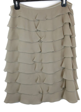 Valentino Neutral Taupe Silk Skirt with Tiered Ruffle Detail 2