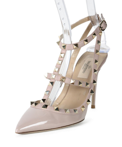 Valentino Nude Patent Leather Studs Heels Sz 37