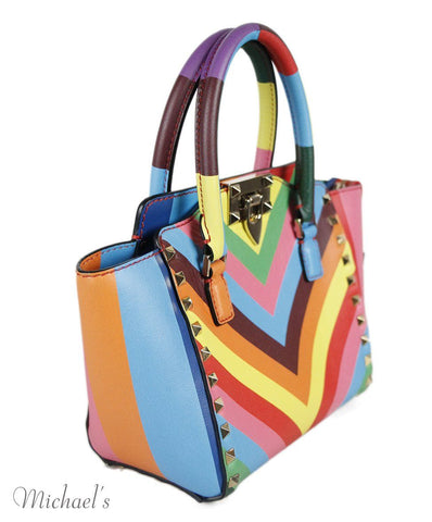 Valentino Blue Pink Multicolor Leather Stud Handbag