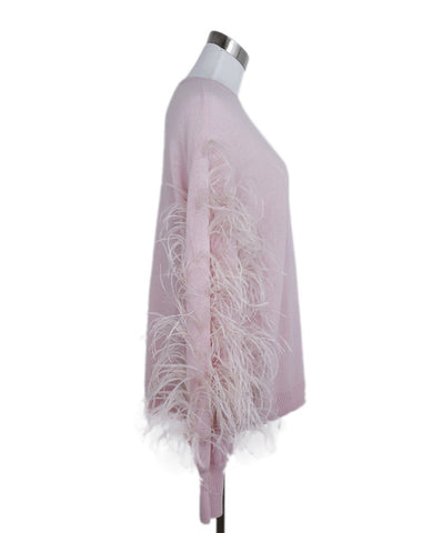 Valentino Pink Cashmere Maribou Feathers Sweater 1