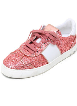 Valentino Pink Salmon Glitter White Leather Shoes