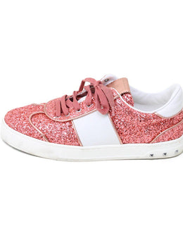 Valentino Pink Salmon Glitter White Leather Shoes 1