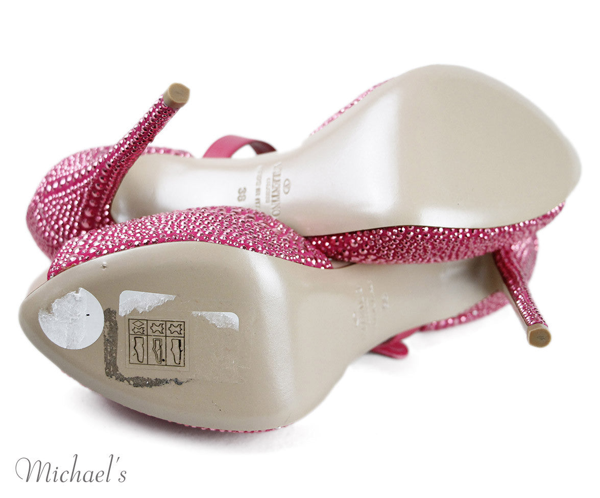 "Valentino  Pink Leather Crystal Trim ""Jane d'Orsay"" Shoes Sz 38"