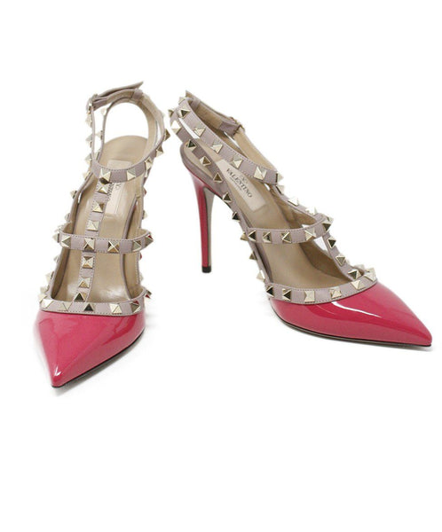 Valentino Fuchsia Patent Leather Gold Studded Shoes 2
