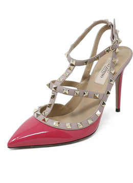 Valentino Fuchsia Patent Leather Gold Studded Shoes