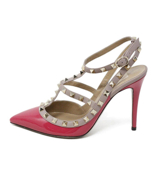 Valentino Fuchsia Patent Leather Gold Studded Shoes 1