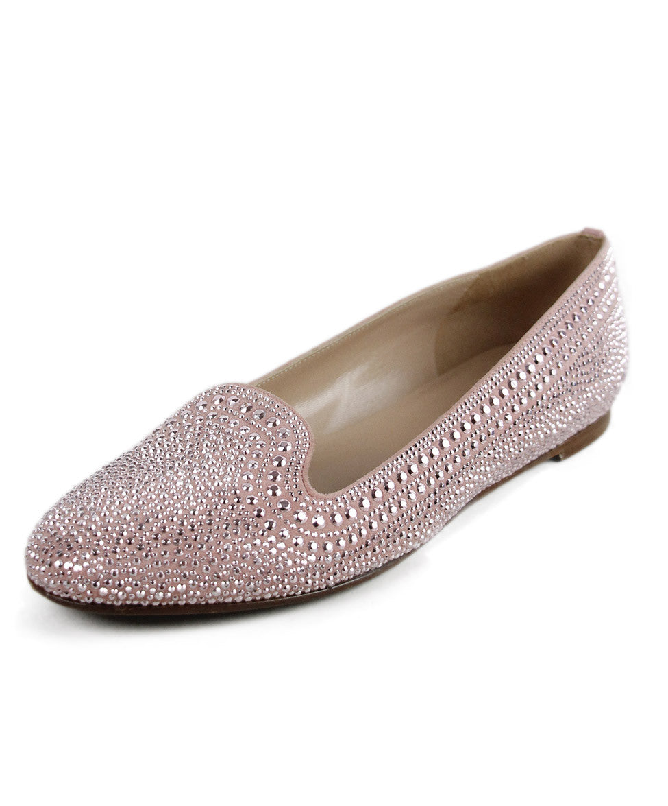 Valentino Pink Suede Silver Studs Shoes Sz 38