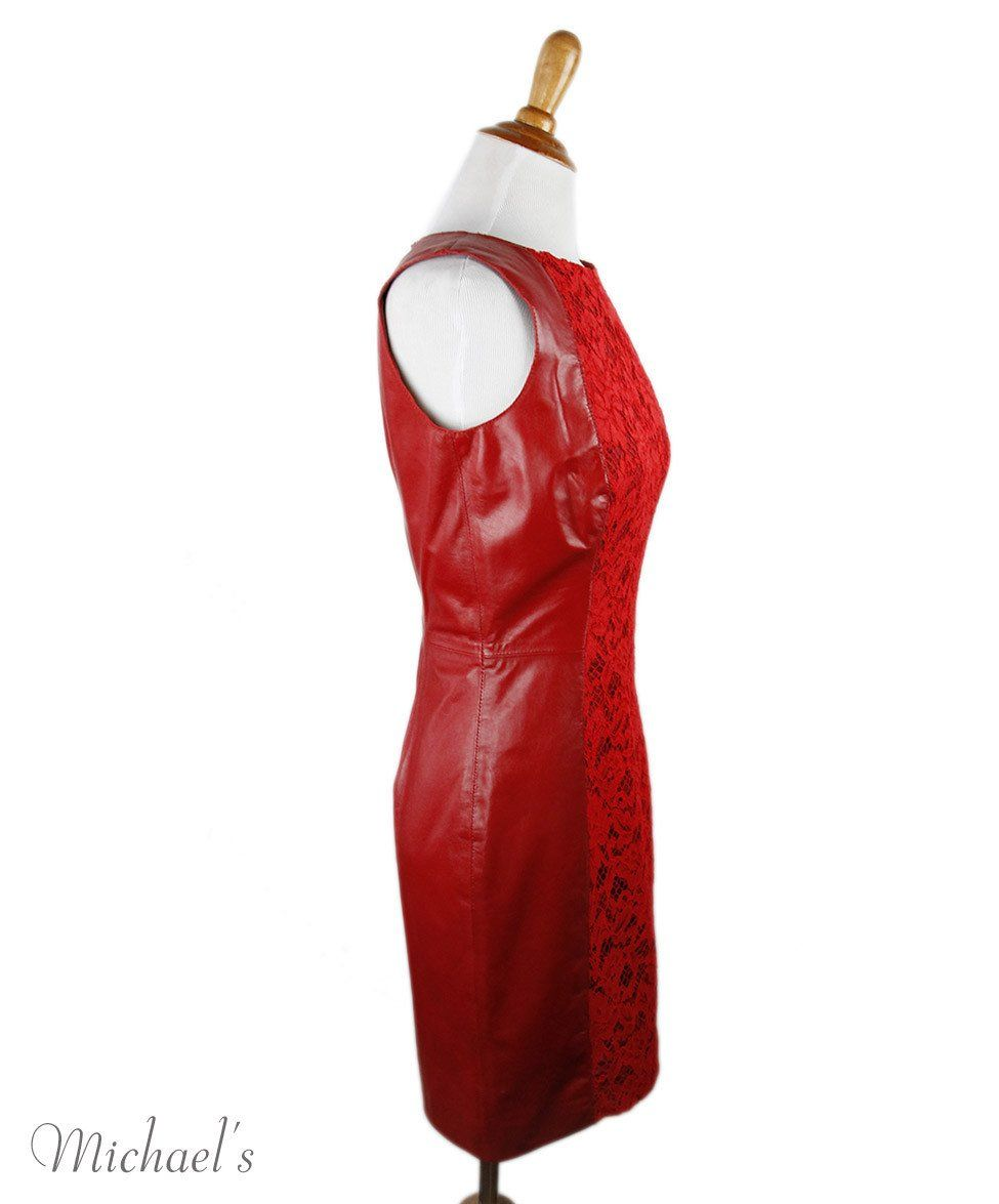 Valentino Red Lambskin Cotton Lace Dress Sz 6
